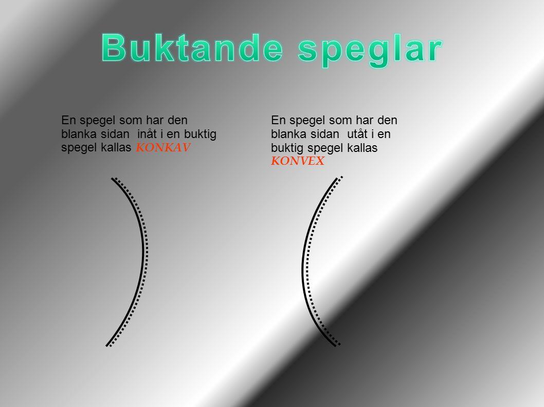 En spegel som har den blanka sidan inåt i en buktig spegel kallas KONKAV En spegel som har den blanka sidan utåt i en buktig spegel kallas KONVEX
