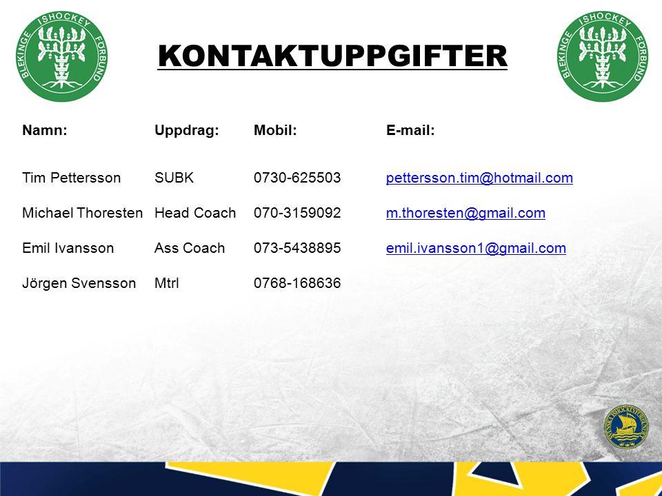 KONTAKTUPPGIFTER Namn:Uppdrag:Mobil: E-mail: Tim PetterssonSUBK0730-625503pettersson.tim@hotmail.compettersson.tim@hotmail.com Michael ThorestenHead Coach070-3159092m.thoresten@gmail.comm.thoresten@gmail.com Emil Ivansson Ass Coach073-5438895emil.ivansson1@gmail.comemil.ivansson1@gmail.com Jörgen SvenssonMtrl0768-168636