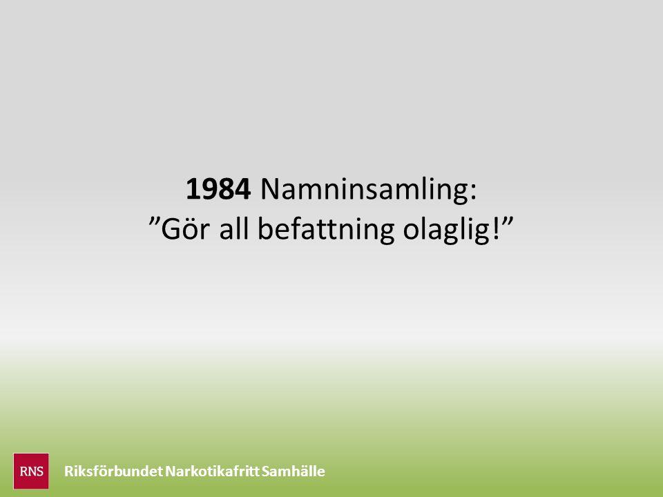 Riksförbundet Narkotikafritt Samhälle 1984 Namninsamling: Gör all befattning olaglig!