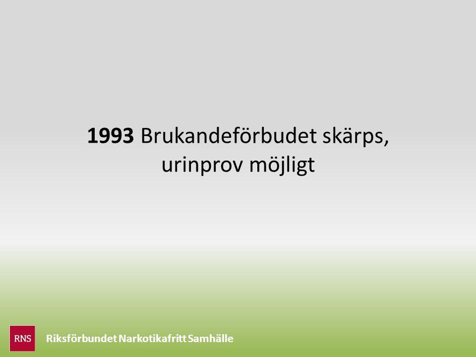 Riksförbundet Narkotikafritt Samhälle 1993 Brukandeförbudet skärps, urinprov möjligt