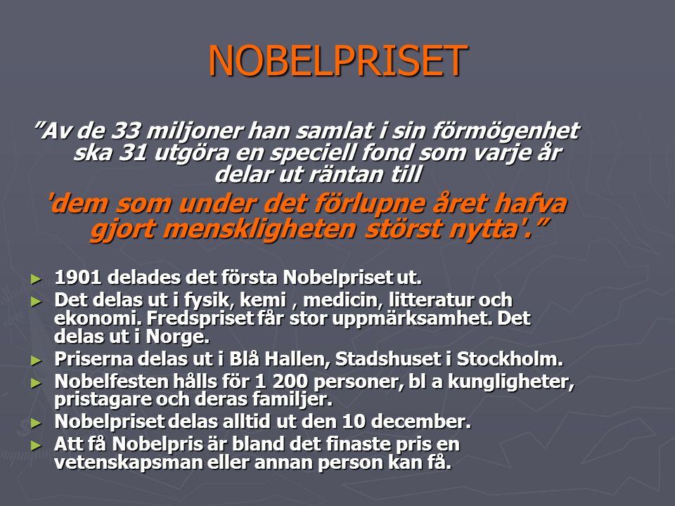 SLUTET ► Alfred Nobel avled 1898, 10 december 1896, vid 65 års ålder.