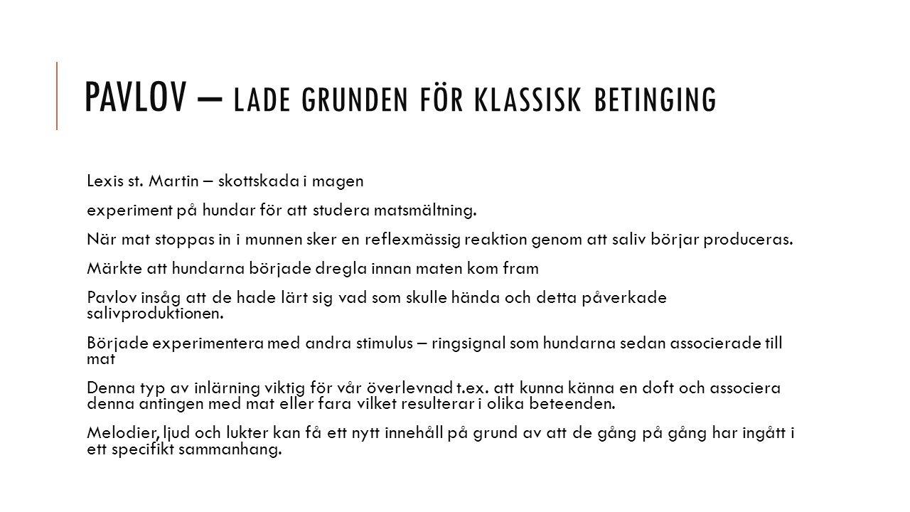 PAVLOV – LADE GRUNDEN FÖR KLASSISK BETINGING Lexis st.