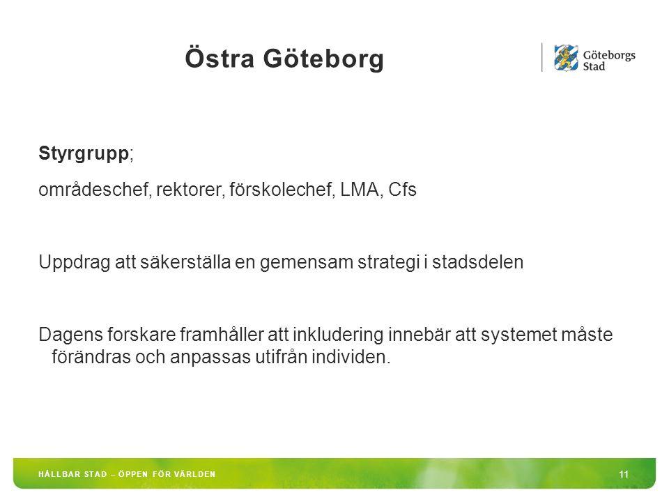 Östra Göteborg 11 HÅLLBAR STAD – ÖPPEN FÖR VÄRLDEN Styrgrupp; områdeschef, rektorer, förskolechef, LMA, Cfs Uppdrag att säkerställa en gemensam strategi i stadsdelen Dagens forskare framhåller att inkludering innebär att systemet måste förändras och anpassas utifrån individen.