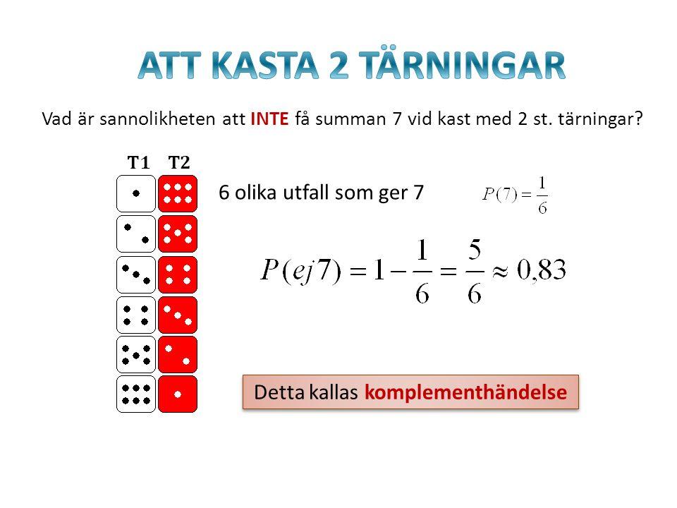 Vad är sannolikheten att INTE få summan 7 vid kast med 2 st. tärningar? 6 olika utfall som ger 7 Detta kallas komplementhändelse