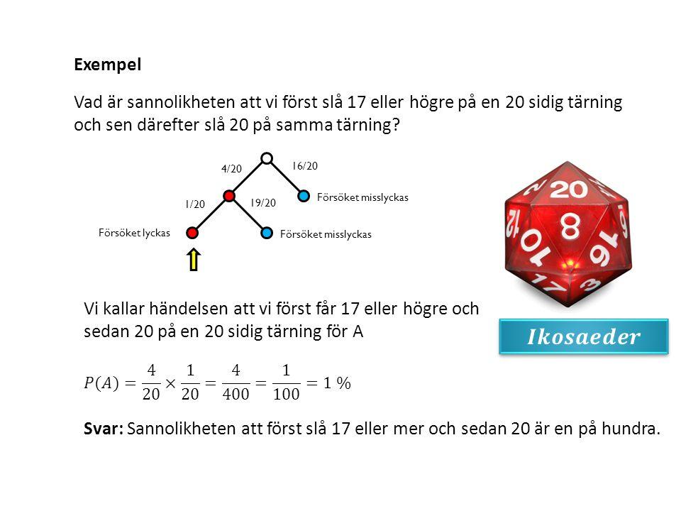 Exempel Vad är sannolikheten att vi först slå 17 eller högre på en 20 sidig tärning och sen därefter slå 20 på samma tärning? 19/20 1/20 Försöket miss