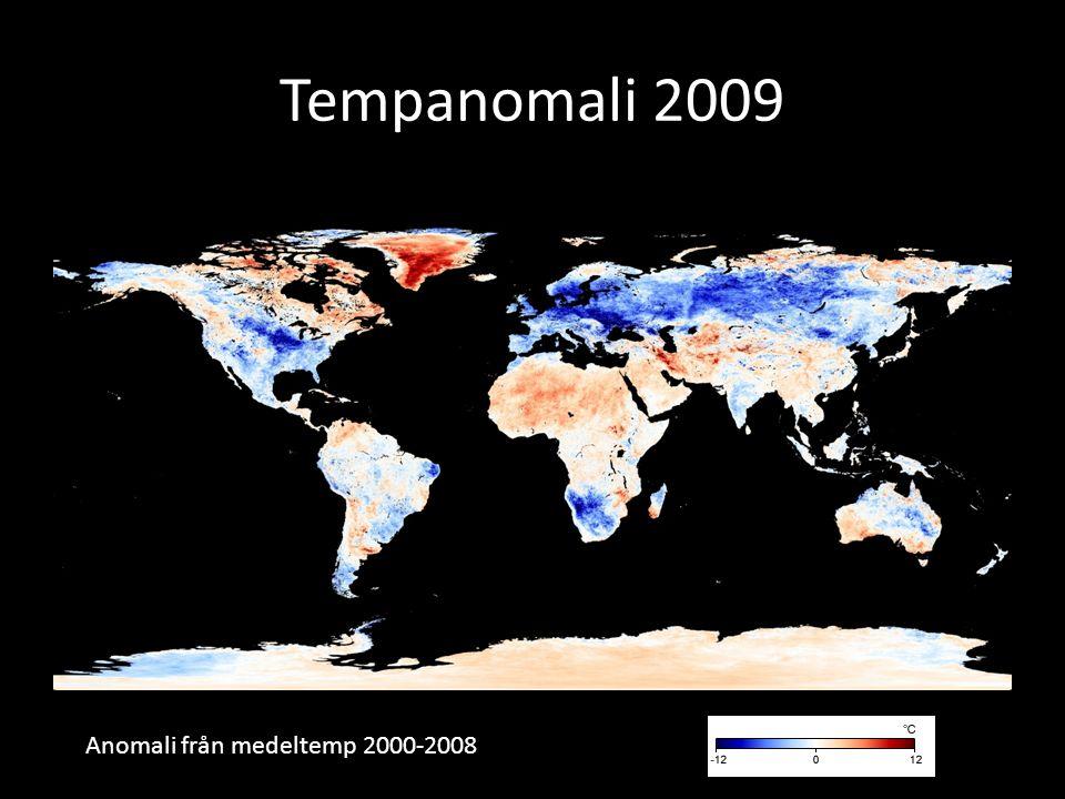 Tempanomali 2009 Anomali från medeltemp 2000-2008