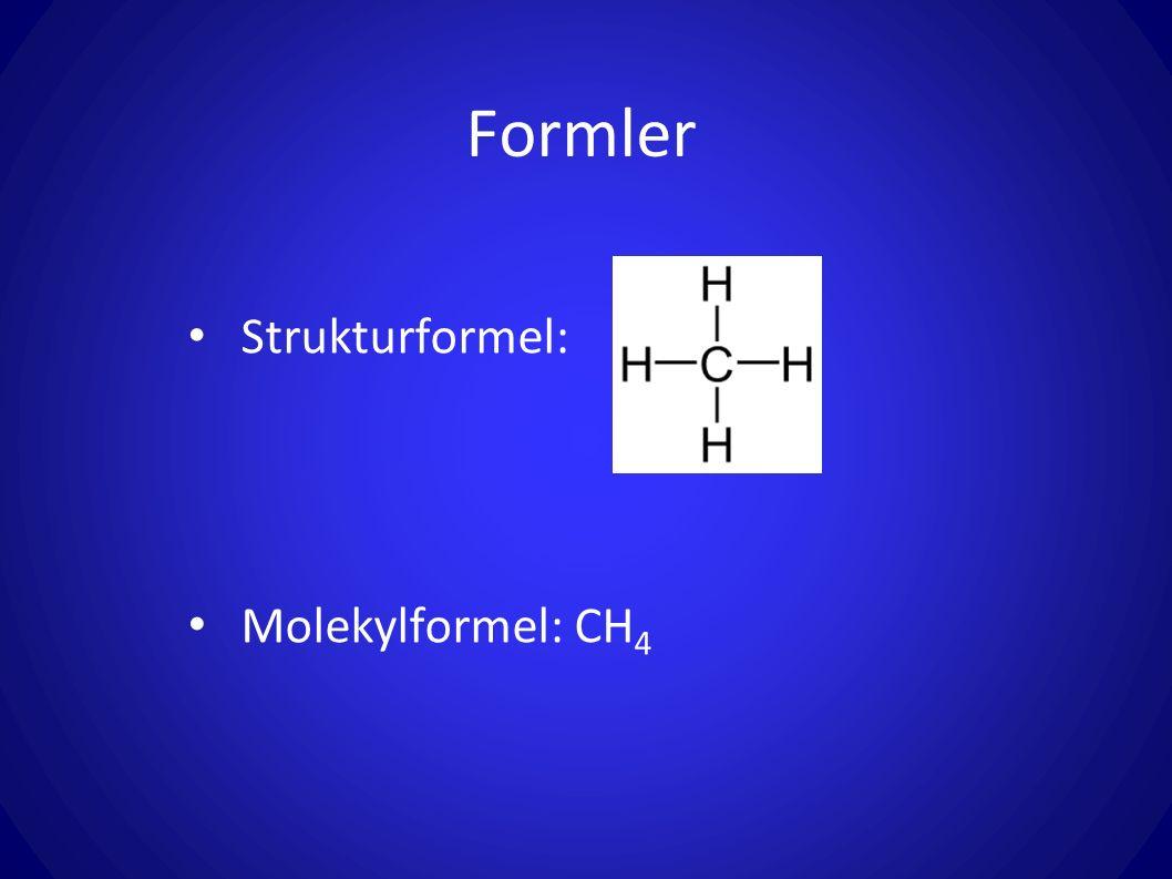 Formler Strukturformel: Molekylformel: CH 4