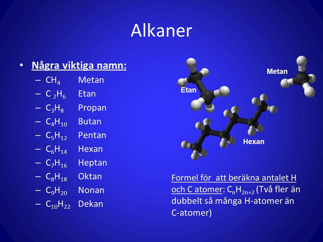 Alkaner Några viktiga namn: – CH 4 Metan – C 2 H 6 Etan – C 3 H 8 Propan – C 4 H 10 Butan – C 5 H 12 Pentan – C 6 H 14 Hexan – C 7 H 16 Heptan – C 8 H 18 Oktan – C 9 H 20 Nonan – C 10 H 22 Dekan Formel för att beräkna antalet H och C atomer: C n H 2n+2 (Två fler än dubbelt så många H-atomer än C-atomer) Metan Etan Hexan
