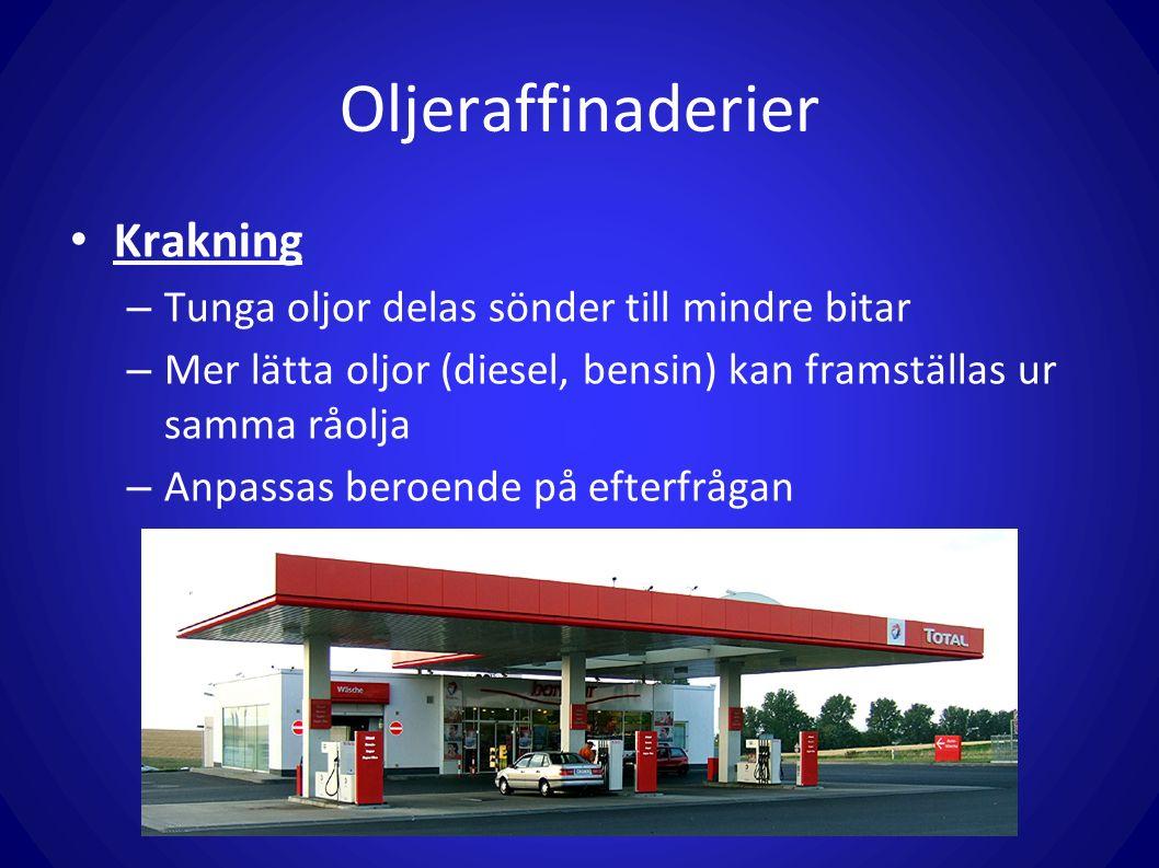 Krakning – Tunga oljor delas sönder till mindre bitar – Mer lätta oljor (diesel, bensin) kan framställas ur samma råolja – Anpassas beroende på efterfrågan