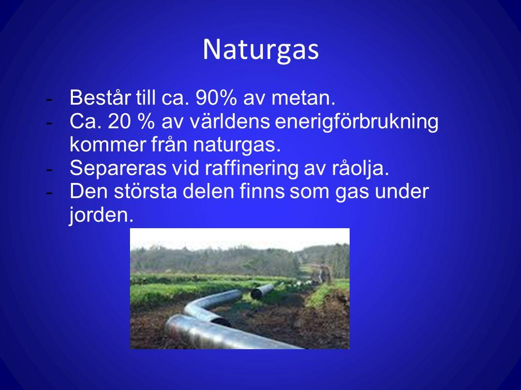 Naturgas - Består till ca. 90% av metan. - Ca. 20 % av världens enerigförbrukning kommer från naturgas. - Separeras vid raffinering av råolja. - Den s