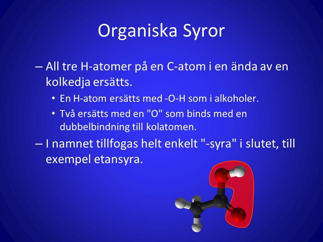 Organiska Syror – All tre H-atomer på en C-atom i en ända av en kolkedja ersätts. En H-atom ersätts med -O-H som i alkoholer. Två ersätts med en