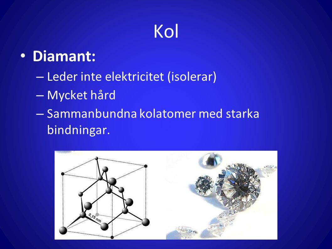 Kol Diamant: – Leder inte elektricitet (isolerar) – Mycket hård – Sammanbundna kolatomer med starka bindningar.