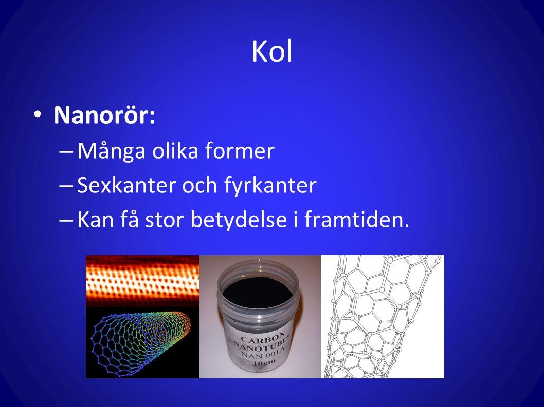 Kol Nanorör: – Många olika former – Sexkanter och fyrkanter – Kan få stor betydelse i framtiden.
