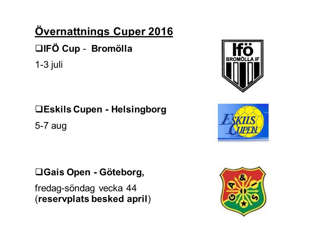 Övernattnings Cuper 2016  IFÖ Cup - Bromölla 1-3 juli  Eskils Cupen - Helsingborg 5-7 aug  Gais Open - Göteborg, fredag-söndag vecka 44 (reservplats besked april)