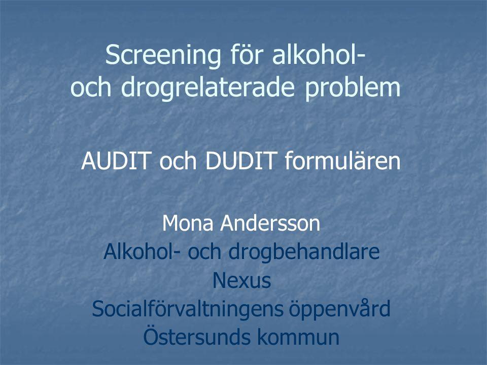 Konsumtionsfrågor Kontrollförlust Oförmåga att fullgöra plikter Återställare Skuldkänslor Minnesluckor Skadligt bruk Oro från andra AUDIT utvecklades av WHO på 1980-talet och används i många vårdsammanhang i Sverige och internationellt.