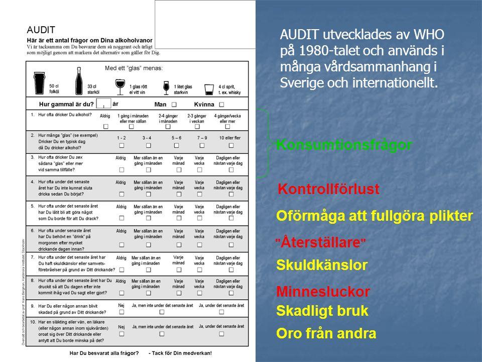 NATIONELLA RIKTLINJER Etablera kontakt med patient/klient Identifiera problemet med AUDIT och/eller GT och CDT Män: < 7 poäng Kvinnor: < 5 poäng ALKOHOL – upptäcka, utreda, bedöma, planera, behandla och följa upp Diagnostisk bedömning av problemet och dess svårighets-grad (DSM-IV eller ICD-10) 8-15 poäng 6-13 poäng 16-19 poäng 14-17 poäng >20 poäng >18 poäng Kort motiverande rådgivning (t.ex.