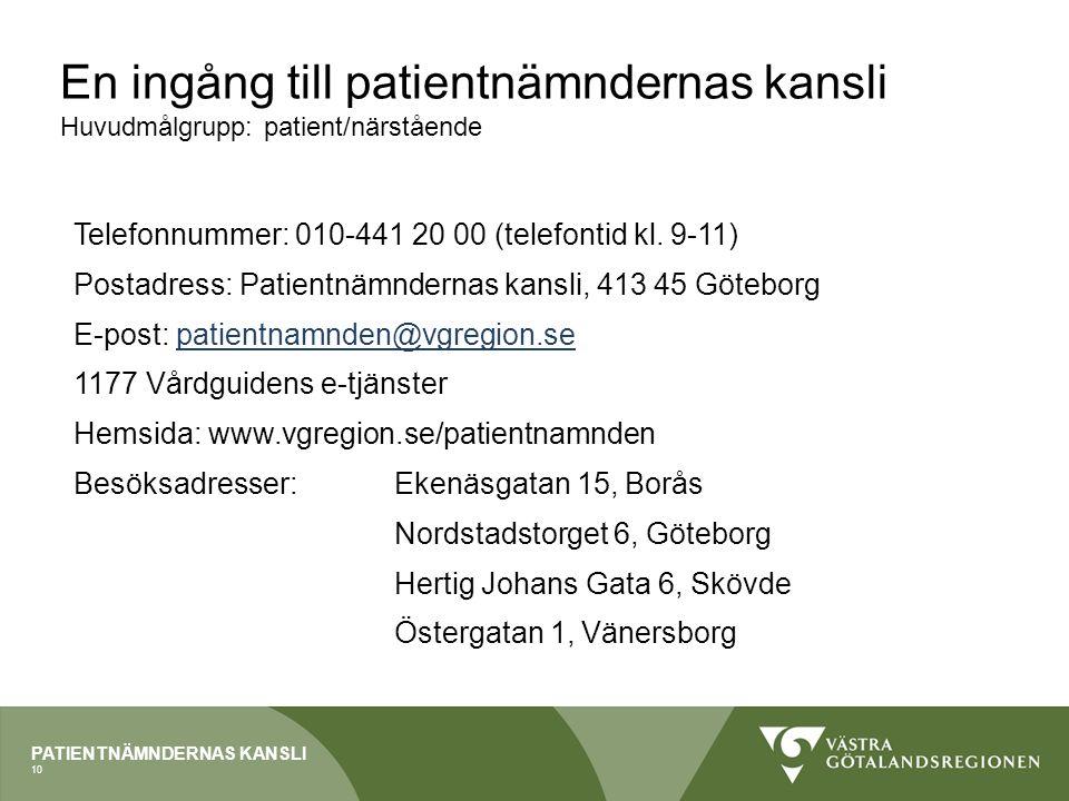 PATIENTNÄMNDERNAS KANSLI En ingång till patientnämndernas kansli Huvudmålgrupp: patient/närstående Telefonnummer: 010-441 20 00 (telefontid kl. 9-11)