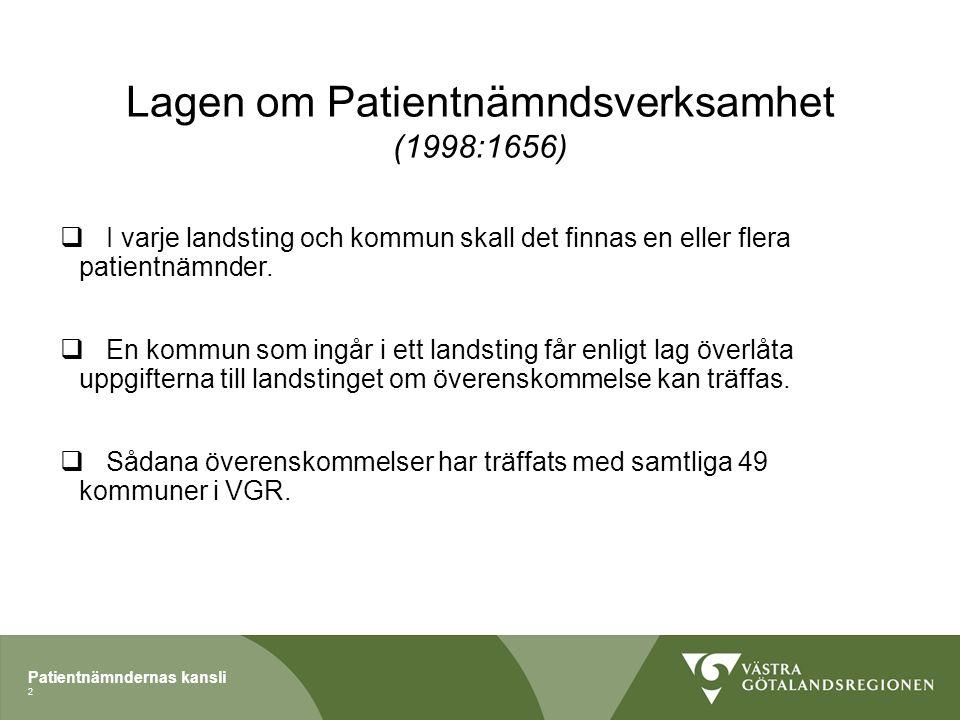 Patientnämndernas kansli Lagen om Patientnämndsverksamhet (1998:1656)  I varje landsting och kommun skall det finnas en eller flera patientnämnder.