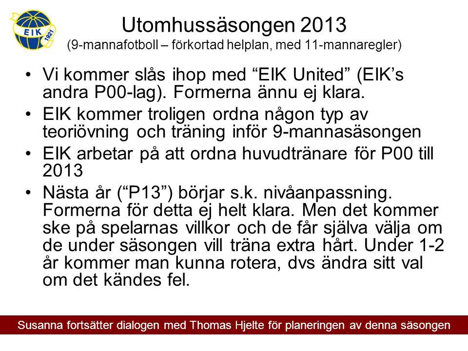 """Utomhussäsongen 2013 (9-mannafotboll – förkortad helplan, med 11-mannaregler) Vi kommer slås ihop med """"EIK United"""" (EIK's andra P00-lag). Formerna änn"""