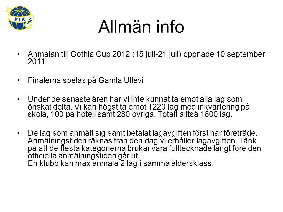 Allmän info Anmälan till Gothia Cup 2012 (15 juli-21 juli) öppnade 10 september 2011 Finalerna spelas på Gamla Ullevi Under de senaste åren har vi inte kunnat ta emot alla lag som önskat delta.
