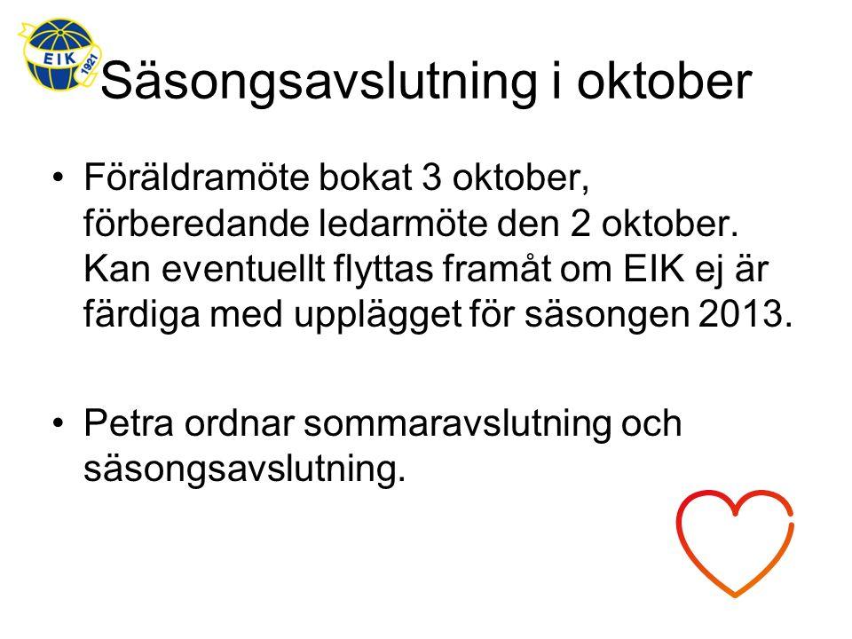 Säsongsavslutning i oktober Föräldramöte bokat 3 oktober, förberedande ledarmöte den 2 oktober. Kan eventuellt flyttas framåt om EIK ej är färdiga med