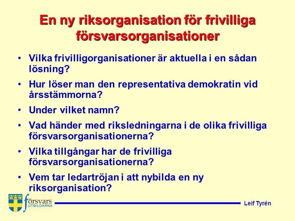 Leif Tyrén En ny riksorganisation för frivilliga försvarsorganisationer Vilka frivilligorganisationer är aktuella i en sådan lösning.