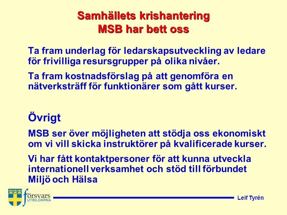 Leif Tyrén Ta fram underlag för ledarskapsutveckling av ledare för frivilliga resursgrupper på olika nivåer.