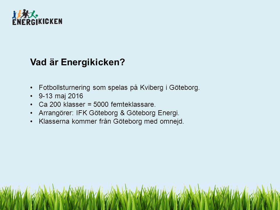 Vad är Energikicken? Fotbollsturnering som spelas på Kviberg i Göteborg. 9-13 maj 2016 Ca 200 klasser = 5000 femteklassare. Arrangörer: IFK Göteborg &