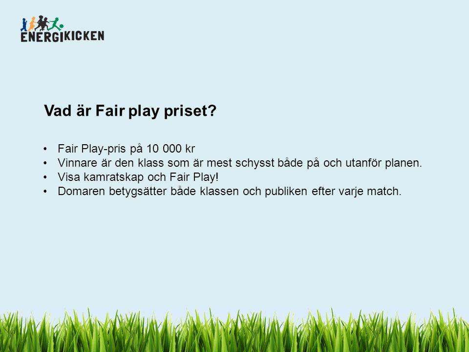 Vad är Fair play priset? Fair Play-pris på 10 000 kr Vinnare är den klass som är mest schysst både på och utanför planen. Visa kamratskap och Fair Pla