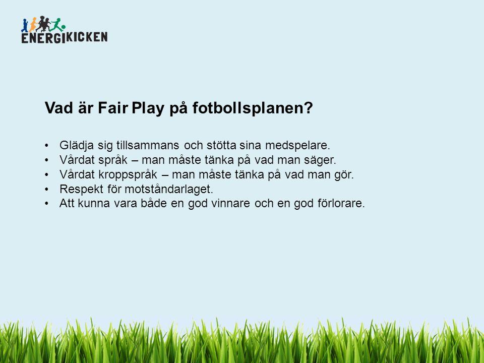 Vad är Fair Play på fotbollsplanen? Glädja sig tillsammans och stötta sina medspelare. Vårdat språk – man måste tänka på vad man säger. Vårdat kroppsp