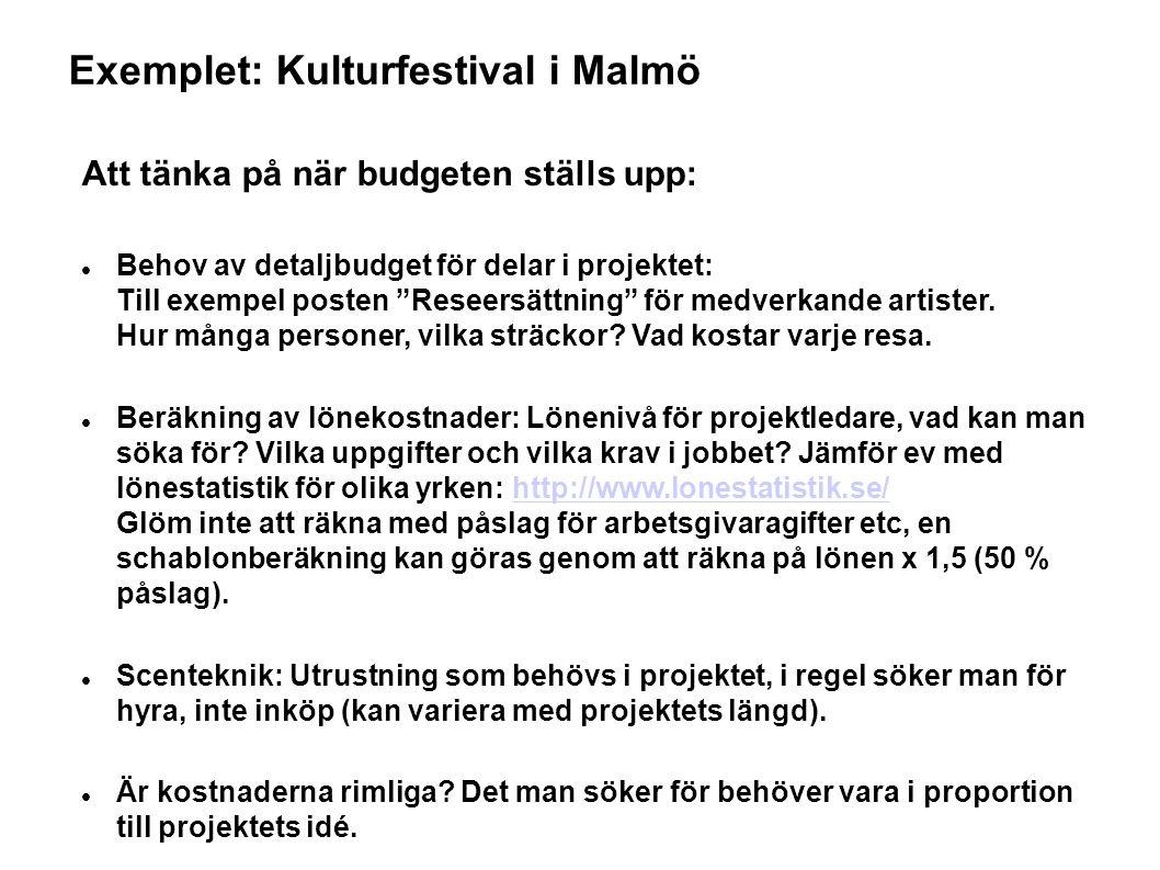 Exemplet: Kulturfestival i Malmö Att tänka på när budgeten ställs upp: Behov av detaljbudget för delar i projektet: Till exempel posten Reseersättning för medverkande artister.