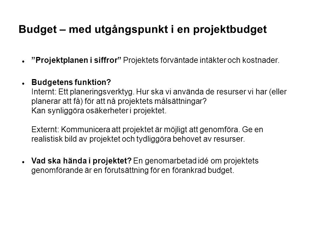 Budget – med utgångspunkt i en projektbudget Projektplanen i siffror Projektets förväntade intäkter och kostnader.
