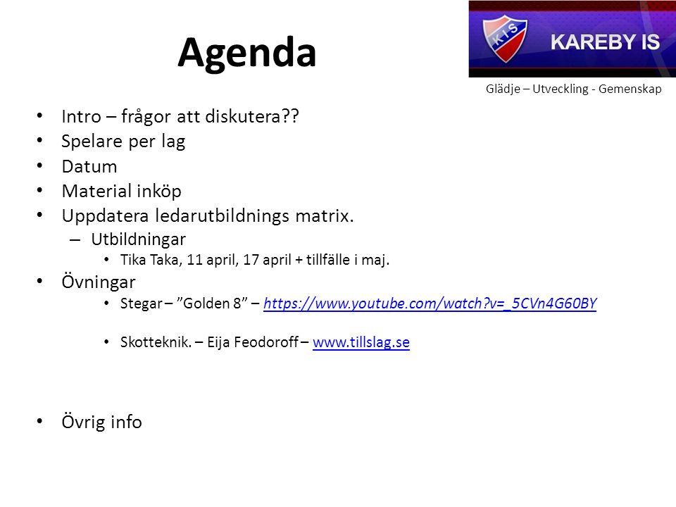 Glädje – Utveckling - Gemenskap Agenda Intro – frågor att diskutera .