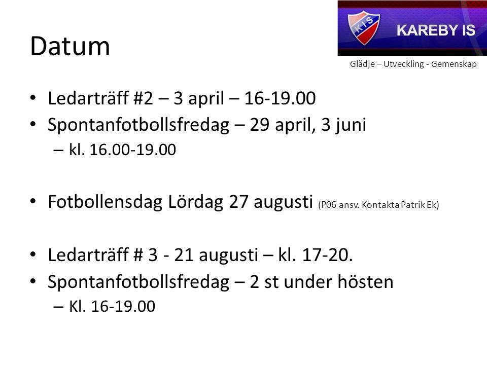 Glädje – Utveckling - Gemenskap Datum Ledarträff #2 – 3 april – 16-19.00 Spontanfotbollsfredag – 29 april, 3 juni – kl.