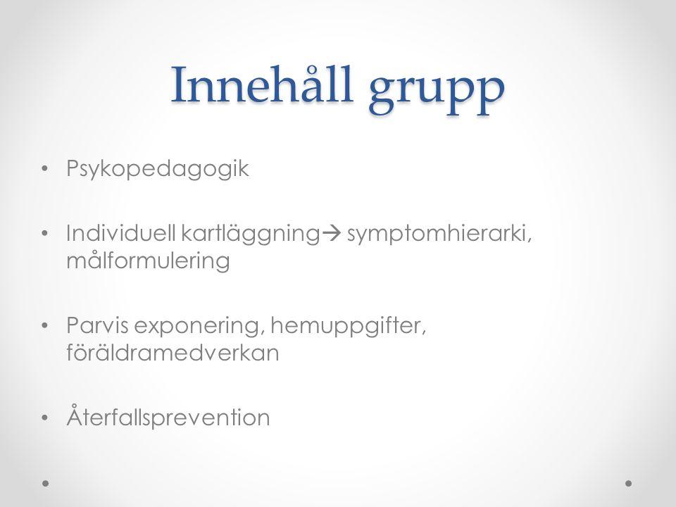 Innehåll grupp Psykopedagogik Individuell kartläggning  symptomhierarki, målformulering Parvis exponering, hemuppgifter, föräldramedverkan Återfallsp