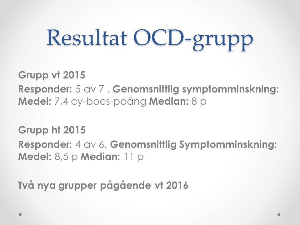 Resultat OCD-grupp Grupp vt 2015 Responder: 5 av 7. Genomsnittlig symptomminskning: Medel: 7,4 cy-bocs-poäng Median: 8 p Grupp ht 2015 Responder: 4 av