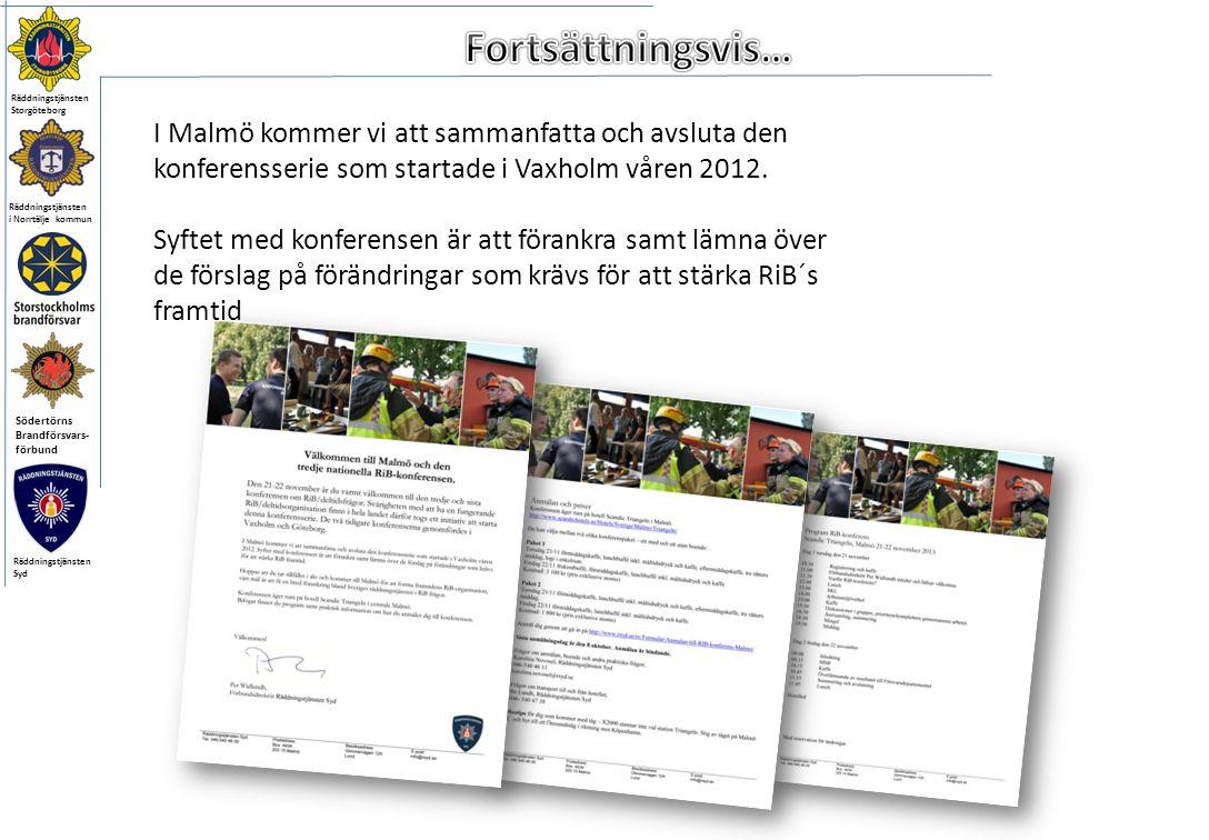Räddningstjänsten i Norrtälje kommun Södertörns Brandförsvars- förbund Räddningstjänsten Storgöteborg Räddningstjänsten Syd I Malmö kommer vi att sammanfatta och avsluta den konferensserie som startade i Vaxholm våren 2012.