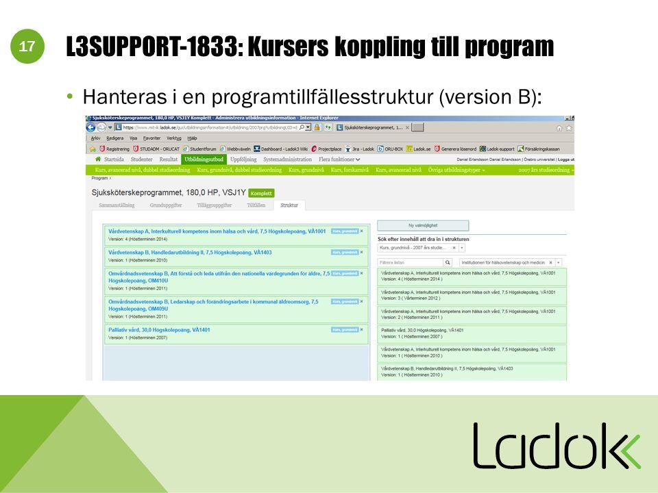 17 L3SUPPORT-1833: Kursers koppling till program Hanteras i en programtillfällesstruktur (version B):