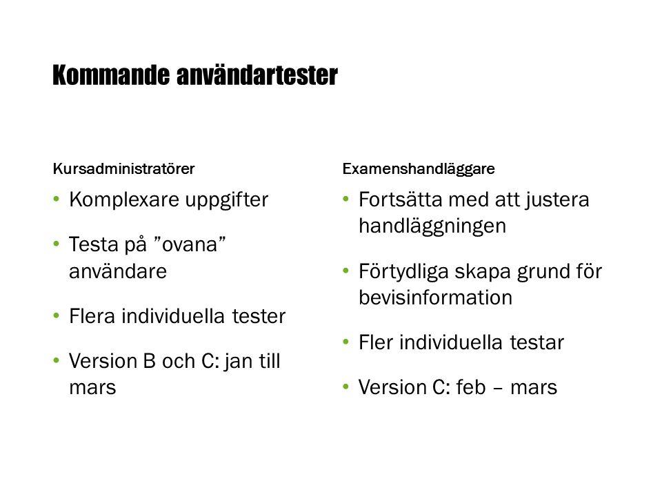 Kommande användartester Kursadministratörer Komplexare uppgifter Testa på ovana användare Flera individuella tester Version B och C: jan till mars Examenshandläggare Fortsätta med att justera handläggningen Förtydliga skapa grund för bevisinformation Fler individuella testar Version C: feb – mars