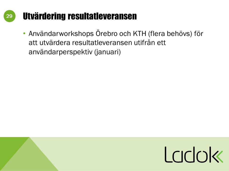 29 Utvärdering resultatleveransen Användarworkshops Örebro och KTH (flera behövs) för att utvärdera resultatleveransen utifrån ett användarperspektiv (januari)