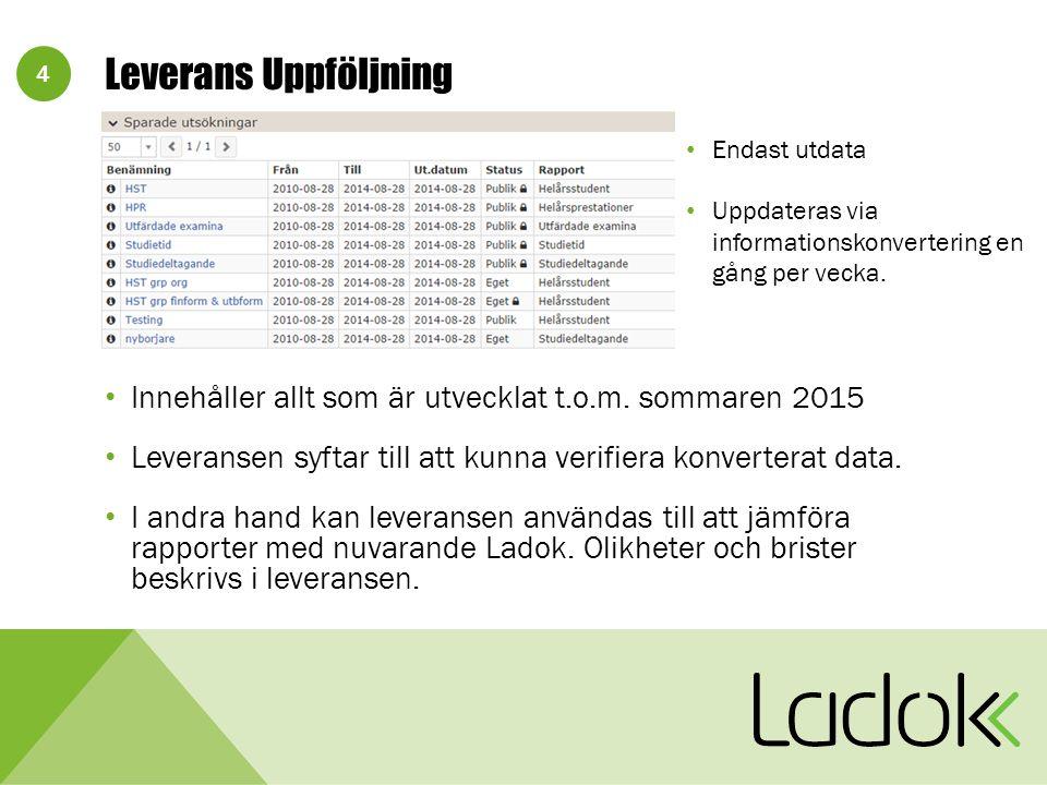 15 L3SUPPORT-671: Möjlighet att jämföra versioner av utbildningar Ladok3-projektet anser att funktionalitet för att jämföra versioner av utbildningar ligger utanför omfattningsbeslutet för nya Ladok.