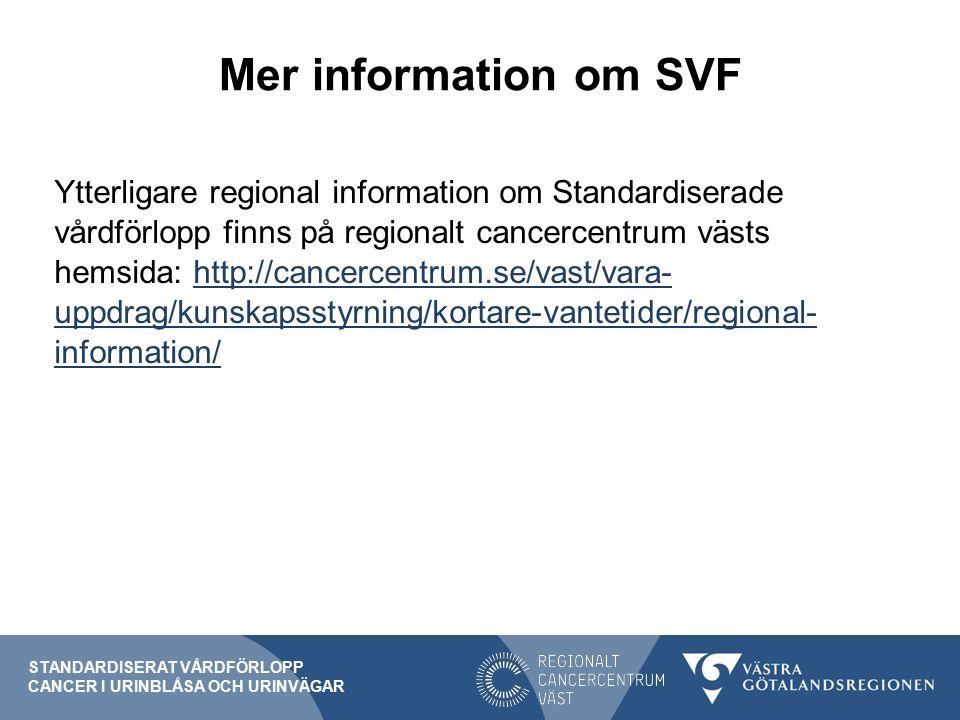 Mer information om SVF Ytterligare regional information om Standardiserade vårdförlopp finns på regionalt cancercentrum västs hemsida: http://cancercentrum.se/vast/vara- uppdrag/kunskapsstyrning/kortare-vantetider/regional- information/http://cancercentrum.se/vast/vara- uppdrag/kunskapsstyrning/kortare-vantetider/regional- information/ STANDARDISERAT VÅRDFÖRLOPP CANCER I URINBLÅSA OCH URINVÄGAR