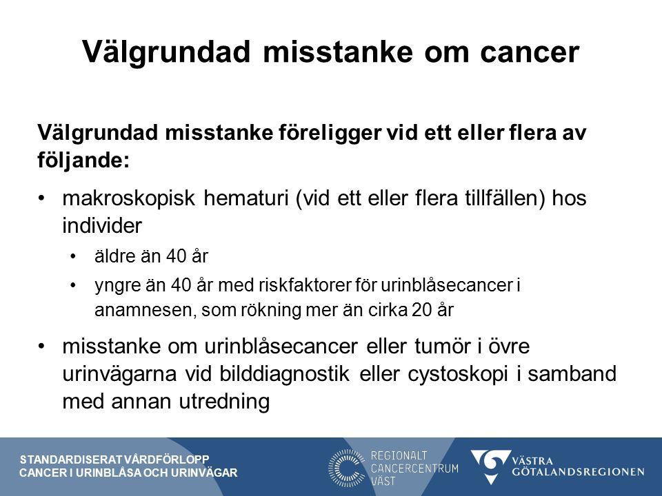 Välgrundad misstanke om cancer STANDARDISERAT VÅRDFÖRLOPP CANCER I URINBLÅSA OCH URINVÄGAR