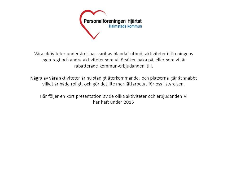 Verksamhetsplanering 2016 På planeringsstadiet inför 2016 har vi bland annat pratat om: -Bussresa till Bingolotto-studion i Göteborg (genomfördes i januari) -Quiz-kvällar, favorit i repris -Föreläsningar -Kommunmästerskap i golf -Bowling-afterwork på Oleary´s -Bussresa till Köpenhamn -Bussresa till Tjejmilen i Stockholm (september) -Bussresa till Sälen (december) -Utlottningar / subventionerade biljetter till olika arrangemang under året Med mera…