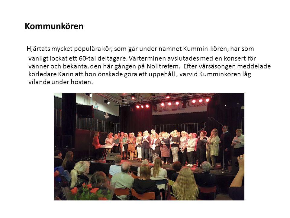 Kommunkören Hjärtats mycket populära kör, som går under namnet Kummin-kören, har som vanligt lockat ett 60-tal deltagare. Vårterminen avslutades med e