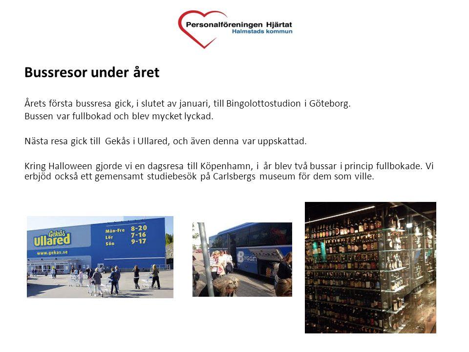 Bussresor under året Årets första bussresa gick, i slutet av januari, till Bingolottostudion i Göteborg. Bussen var fullbokad och blev mycket lyckad.