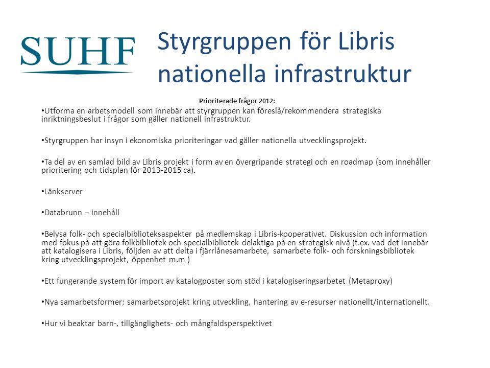 Styrgruppen för Libris nationella infrastruktur Prioriterade frågor 2012: Utforma en arbetsmodell som innebär att styrgruppen kan föreslå/rekommendera strategiska inriktningsbeslut i frågor som gäller nationell infrastruktur.