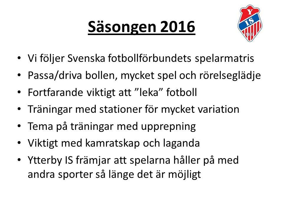 Säsongen 2016 Vi följer Svenska fotbollförbundets spelarmatris Passa/driva bollen, mycket spel och rörelseglädje Fortfarande viktigt att leka fotboll Träningar med stationer för mycket variation Tema på träningar med upprepning Viktigt med kamratskap och laganda Ytterby IS främjar att spelarna håller på med andra sporter så länge det är möjligt