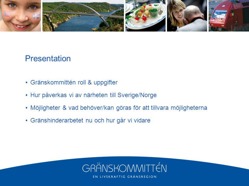 Presentation Gränskommittén roll & uppgifter Hur påverkas vi av närheten till Sverige/Norge Möjligheter & vad behöver/kan göras för att tillvara möjligheterna Gränshinderarbetet nu och hur går vi vidare