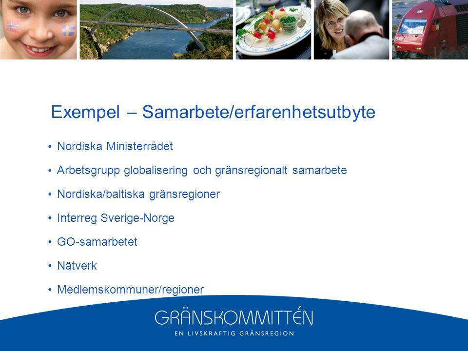 Exempel – Samarbete/erfarenhetsutbyte Nordiska Ministerrådet Arbetsgrupp globalisering och gränsregionalt samarbete Nordiska/baltiska gränsregioner Interreg Sverige-Norge GO-samarbetet Nätverk Medlemskommuner/regioner